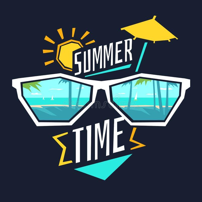 Tid för vektorillustrationsommar med exponeringsglasen, kusten, solen och paraplyet vektor illustrationer