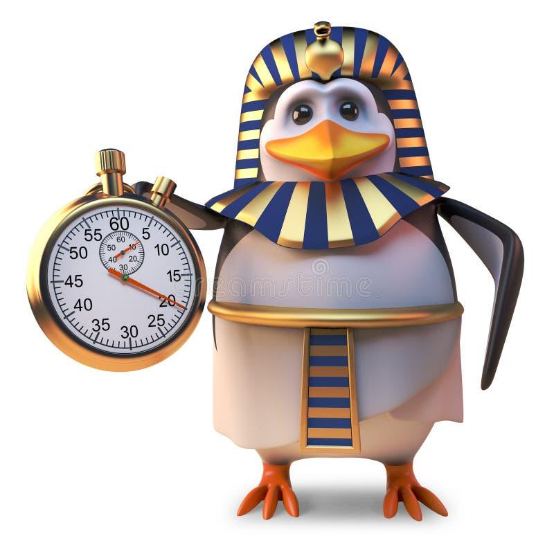 Tid hemsökte pingvinfarao Tutankhamun genom att använda en stoppur, illustrationen 3d stock illustrationer