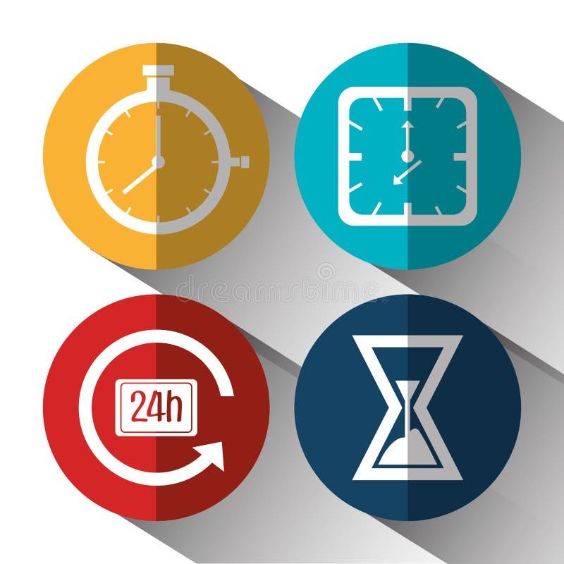 Tid klocka, klockasymbol stock illustrationer