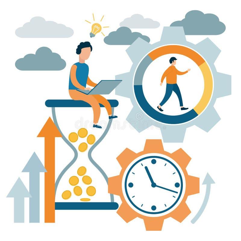 Tid ledning, kontroll Time ?r pengar Brist av tid Design f?r vektorillustrationl?genhet vektor illustrationer