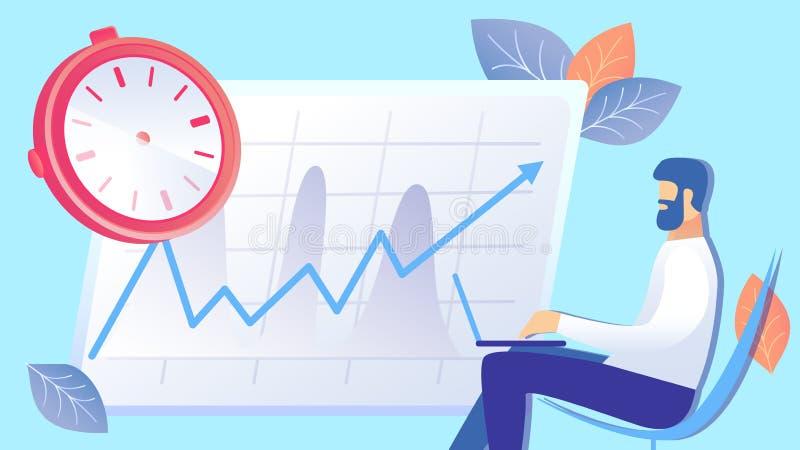 Tid ledning, plan illustration för effektivitetslöneförhöjning vektor illustrationer