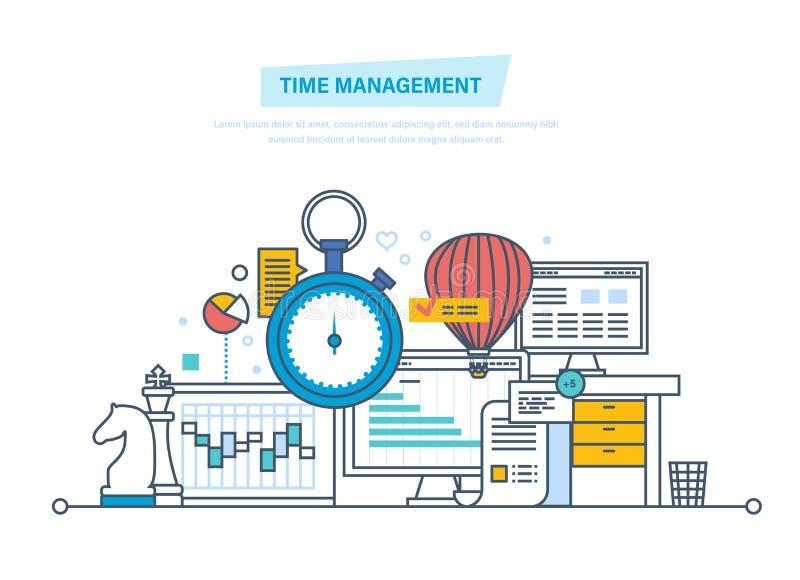 Tid ledning, planläggning, organisation av arbetstid, arbetsprocesskontroll royaltyfri illustrationer
