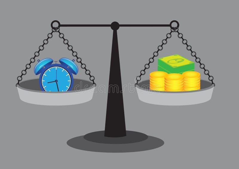 Tid likställer pengarvektorillustrationen stock illustrationer