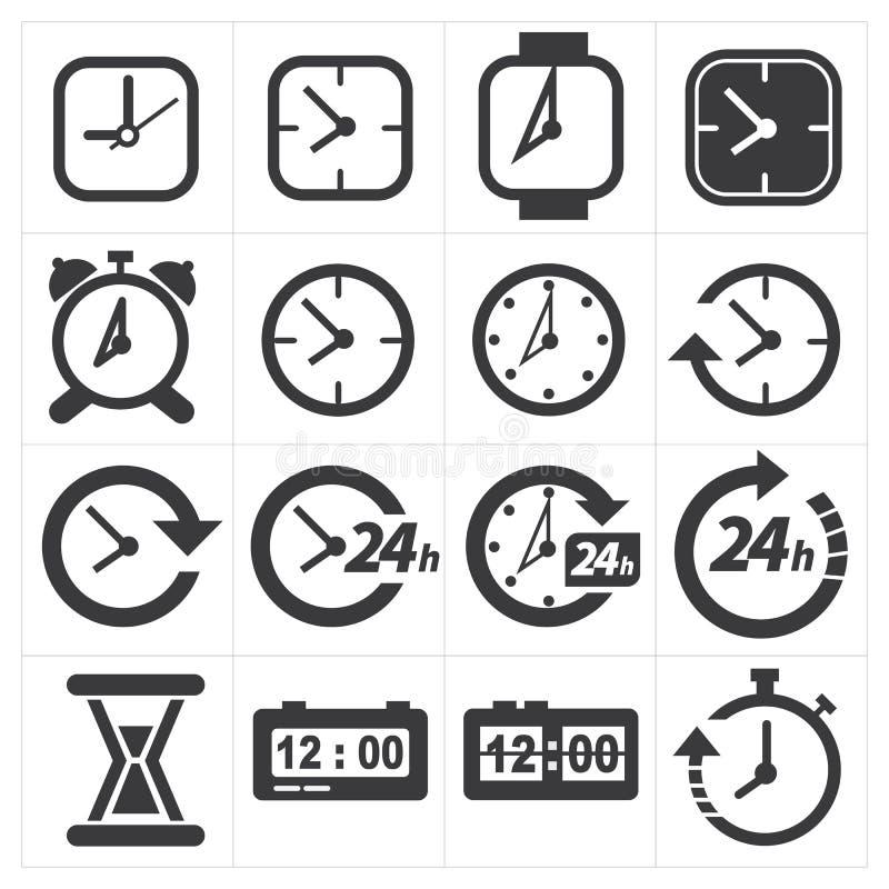 Tid och klockasymbolsuppsättning royaltyfri illustrationer