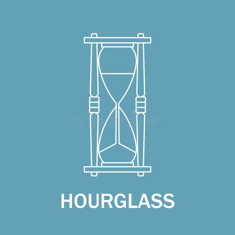 Tid och klockatecken Klockasymbol Linje isolerad stilillustration timglas stock illustrationer