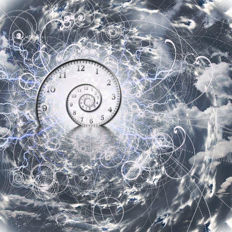 Tid och kvantfysik royaltyfri illustrationer