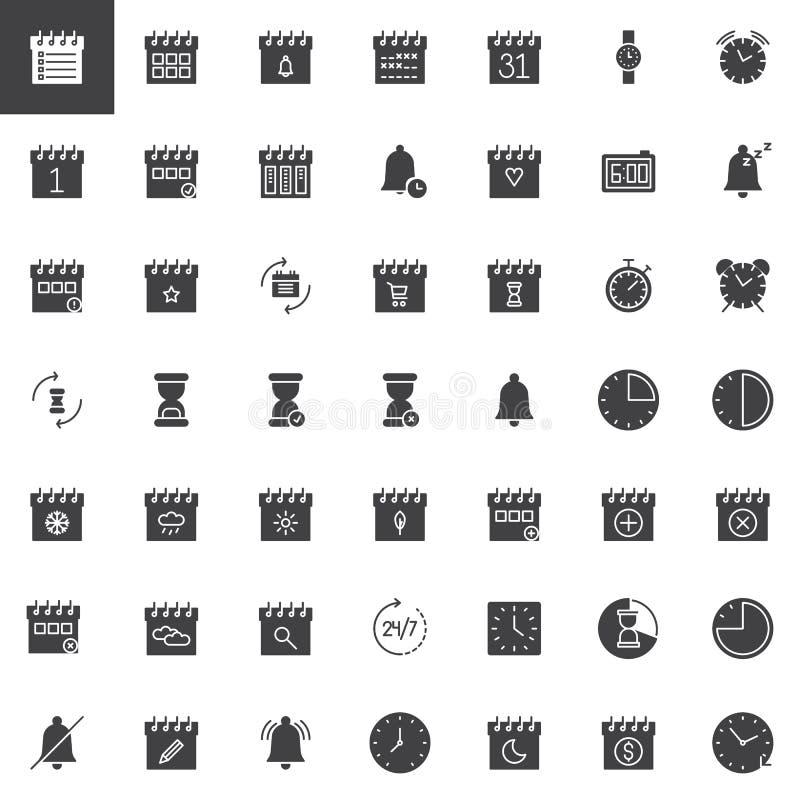 Tid och uppsättning för datumvektorsymboler stock illustrationer
