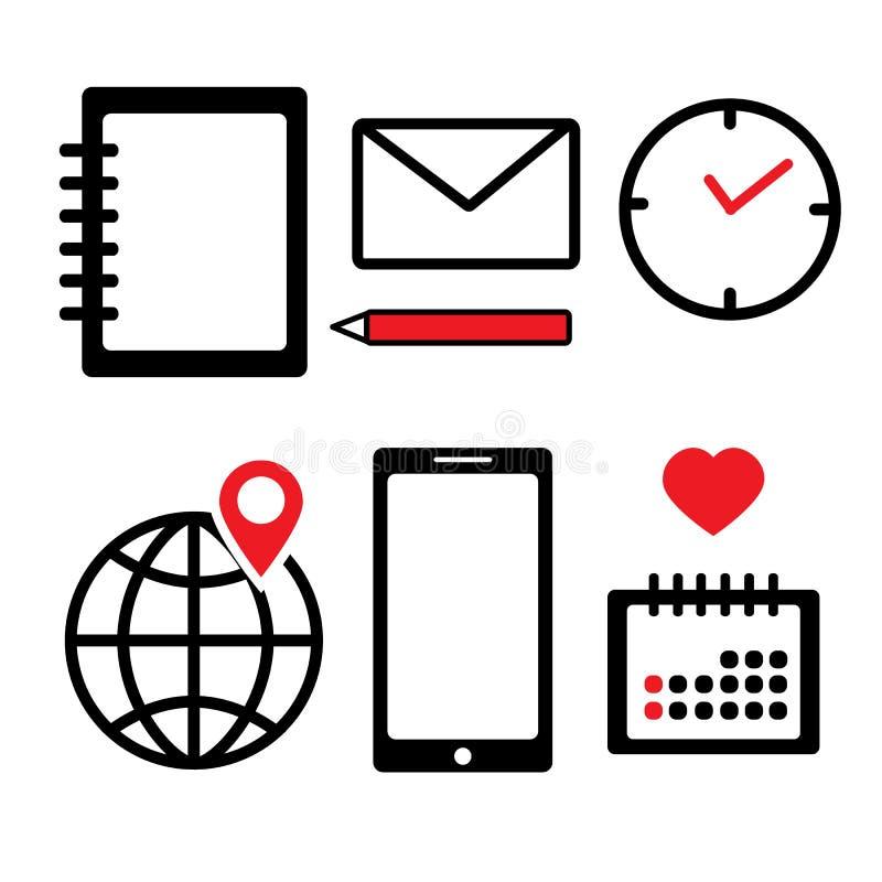Tid planläggning Ställ in framlänges av affärsvektorsymbol anteckningsbok jordklot läge Telefon kalender meddelande klocka vektor illustrationer