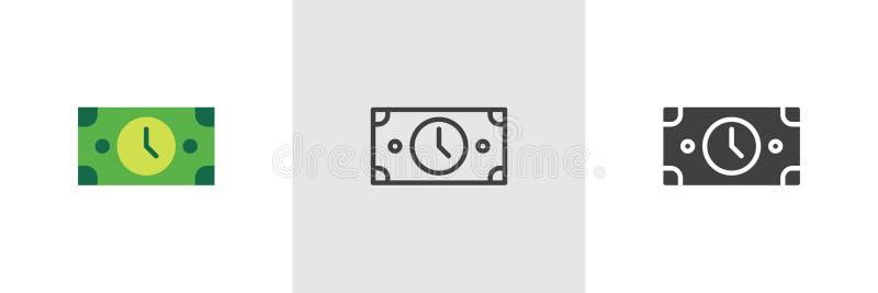 Tid ?r pengarsymbolen vektor illustrationer