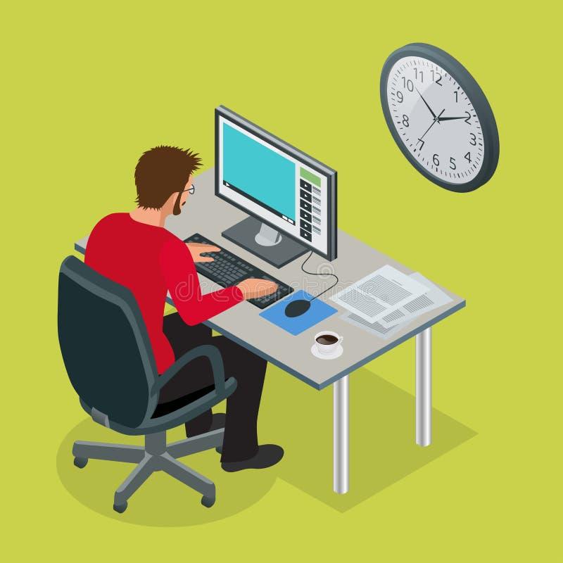 Tid som arbetar eller schema för plan för projekt för Tid ledning Illustration för vektor för sandklockalägenhet 3d isometrisk is stock illustrationer
