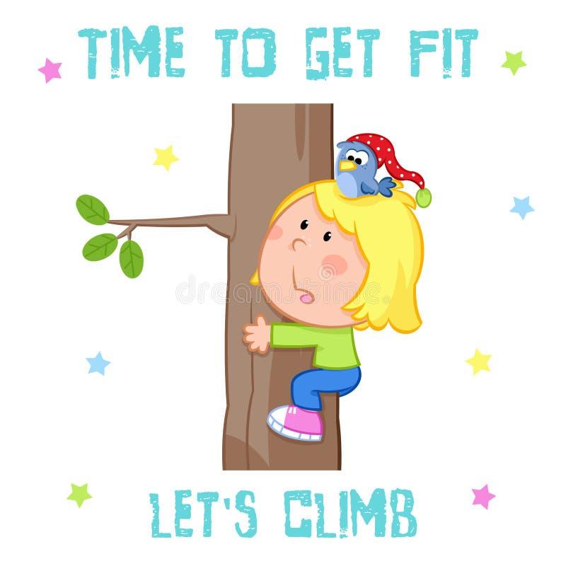 Tid som får det färdiga kortet - vit bakgrund - gullig liten flicka och sportar - trädklättring stock illustrationer
