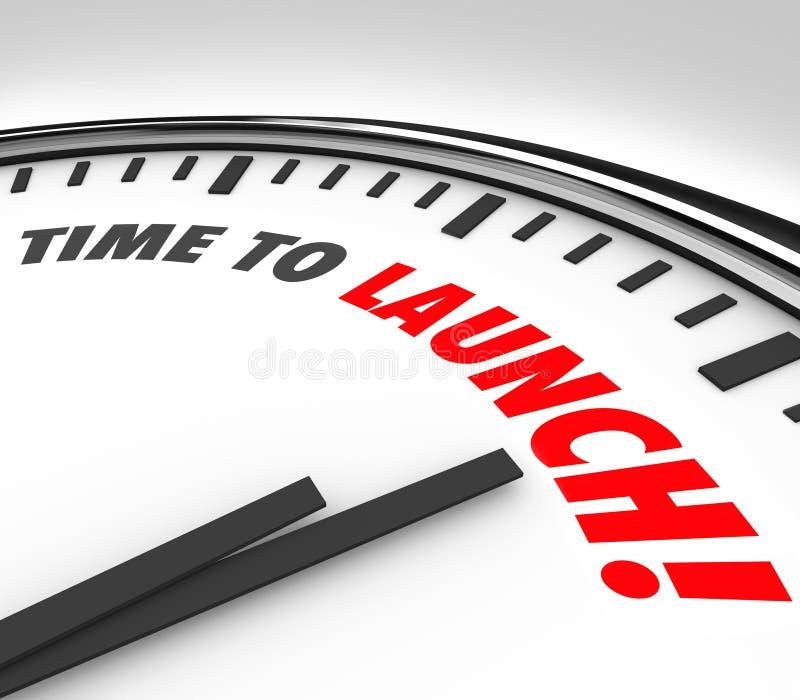 Tid som lanserar Com för produkt för affär för klockastopptidnedräkning ny vektor illustrationer