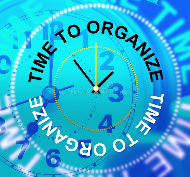 Tid som organiserar showledning, ordnar och organisationen stock illustrationer