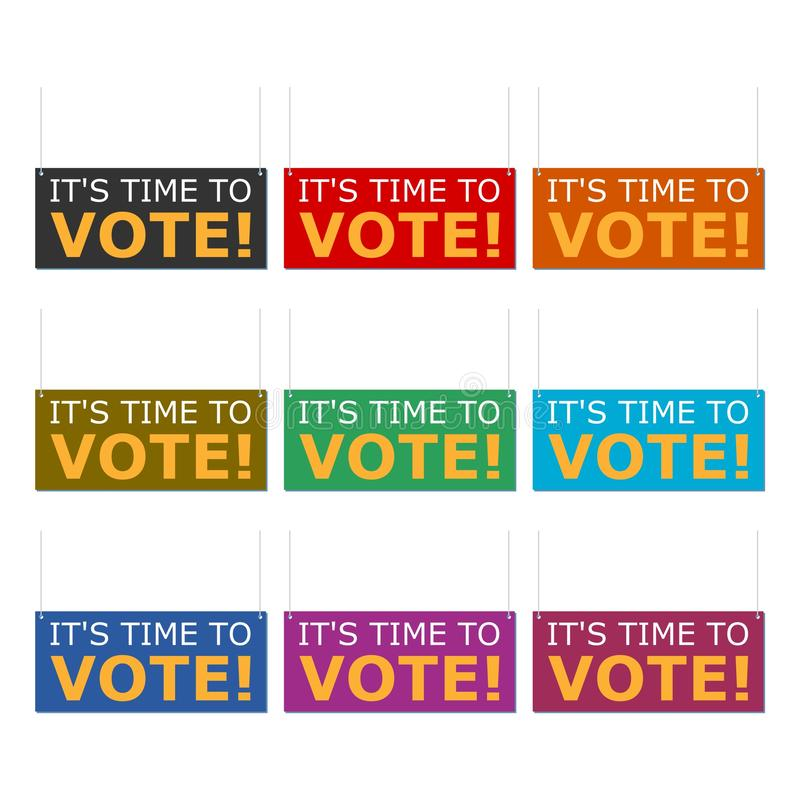 Tid som röstar symbolen eller logoen, Tid för att rösta ordet, färguppsättning royaltyfri illustrationer
