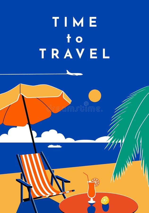 Tid som reser affischen Sommarbaner med stranden och havet Plan illustration f?r vektor royaltyfri illustrationer