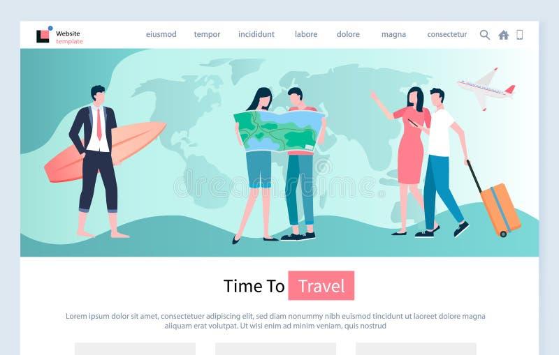 Tid som reser, avkoppling och semester av folk stock illustrationer