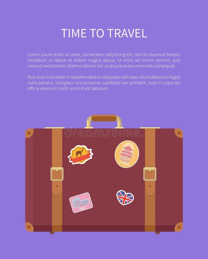 Tid som reser bagage med klistermärkeaffischvektorn stock illustrationer