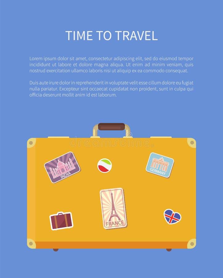 Tid som reser bagageaffischen med textvektorn vektor illustrationer