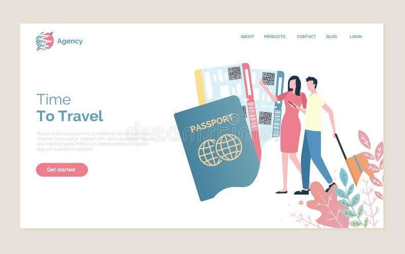 Tid som reser folk med pass och biljetter royaltyfri illustrationer