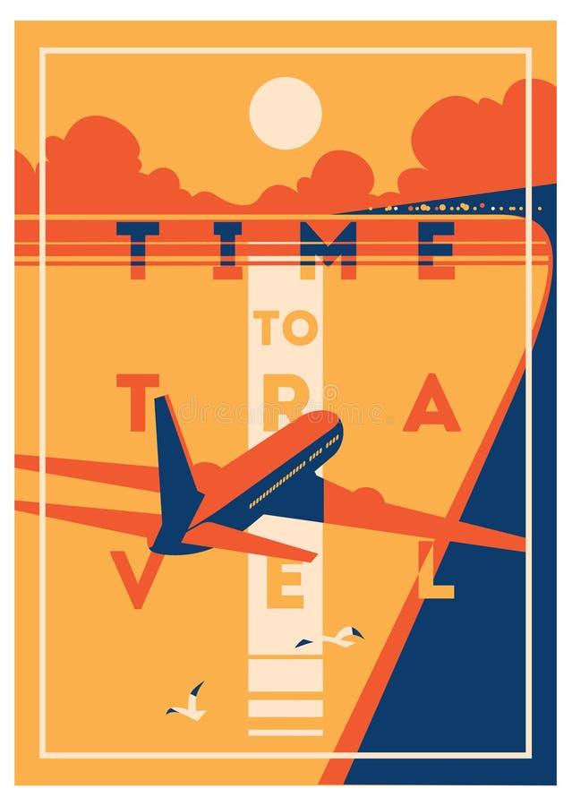 Tid som reser, och affisch för sommarferie royaltyfri illustrationer