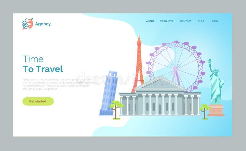 Tid som reser, Pisa torn, Ferris Wheel Paris stock illustrationer