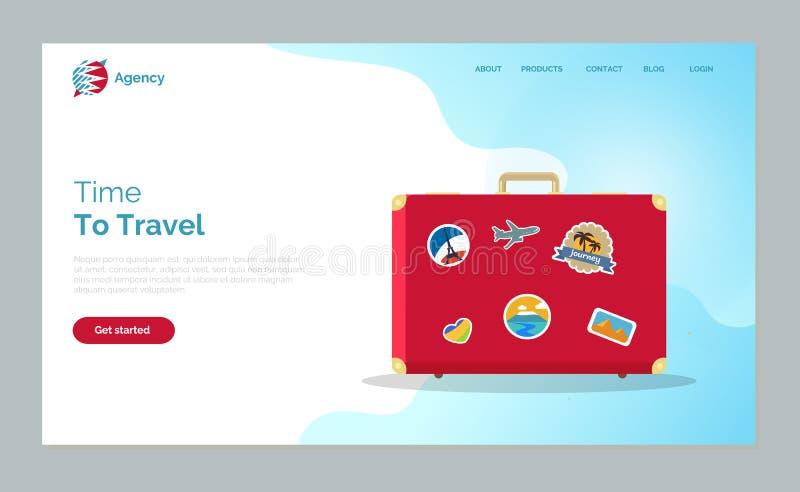 Tid som reser, rött bagage med klistermärkewebsiten royaltyfri illustrationer