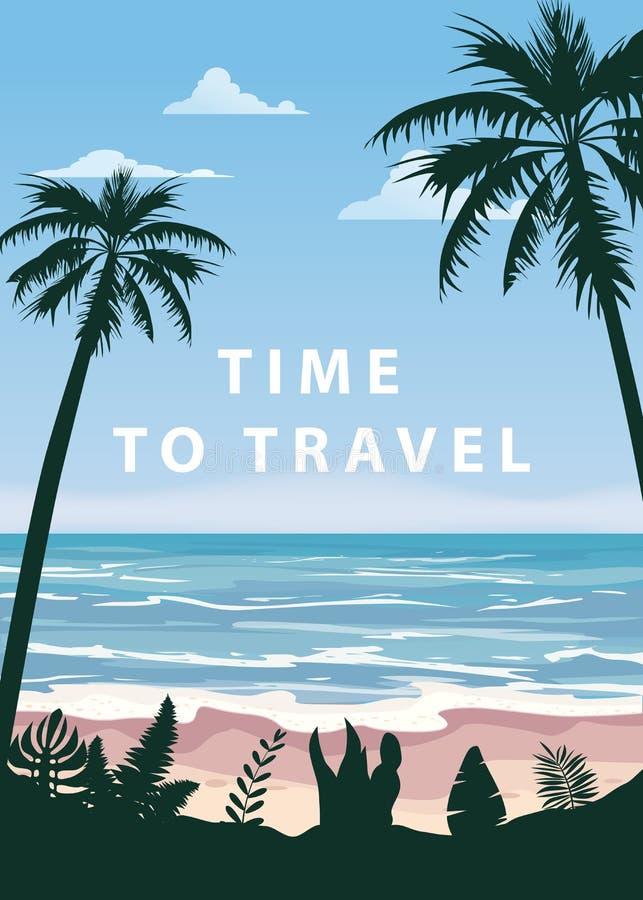 Tid som reser sommar, semestrar stranden f?r havet f?r havet f?r seascape f?r semesterseascapelandskapet, kusten, palmblad Retro  royaltyfri illustrationer