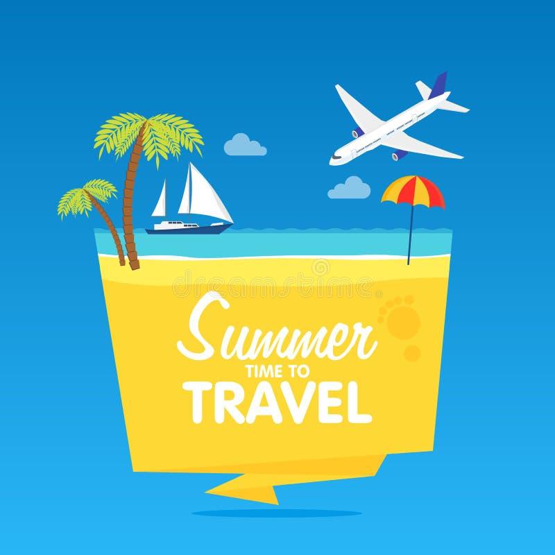 Tid som reser, sommarsemestern, plana bakgrund för vektor och objektillustrationer förser med märke tamplate royaltyfri illustrationer