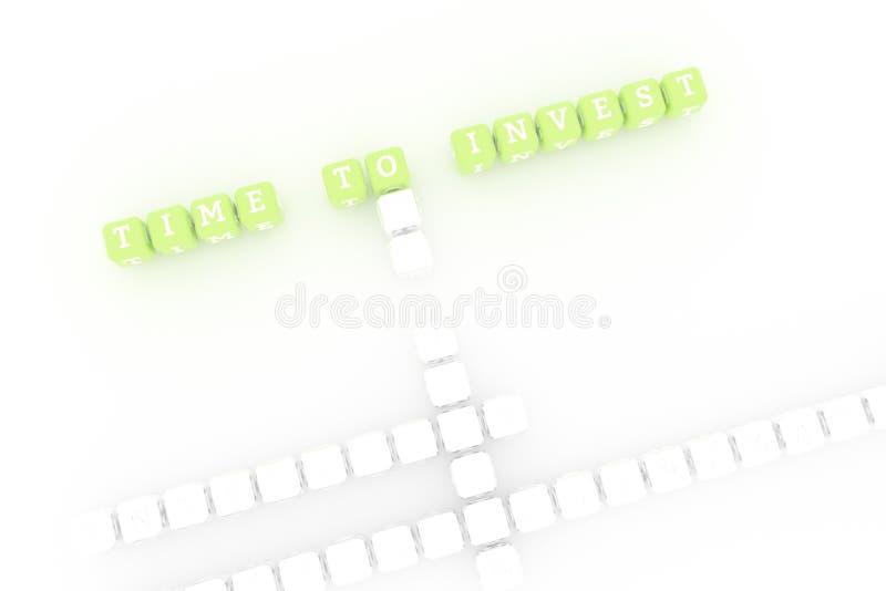 Tid som ska investeras, affärsnyckelordkorsord F?r webbsida, grafisk design, textur eller bakgrund royaltyfria bilder