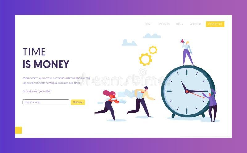 Tid som spårar affärsmannen Concept Landing Page Kontorsman- och kvinnatecken skynda sig till stopptidtimmen schema royaltyfri illustrationer