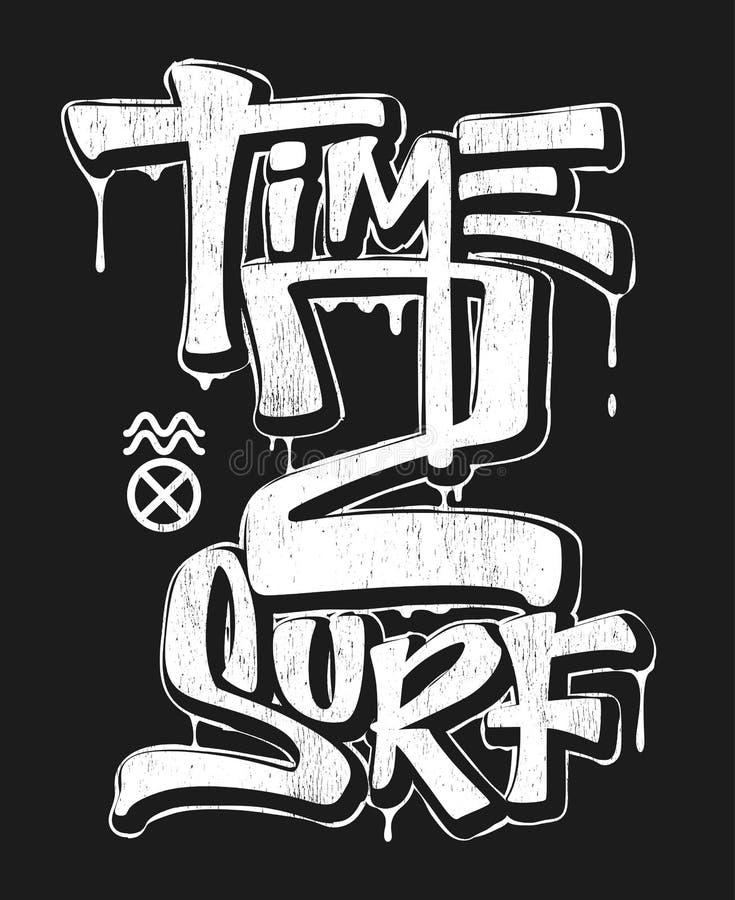 Tid som surfar, att skriva ut designen för t-skjorta vektorillustration vektor illustrationer