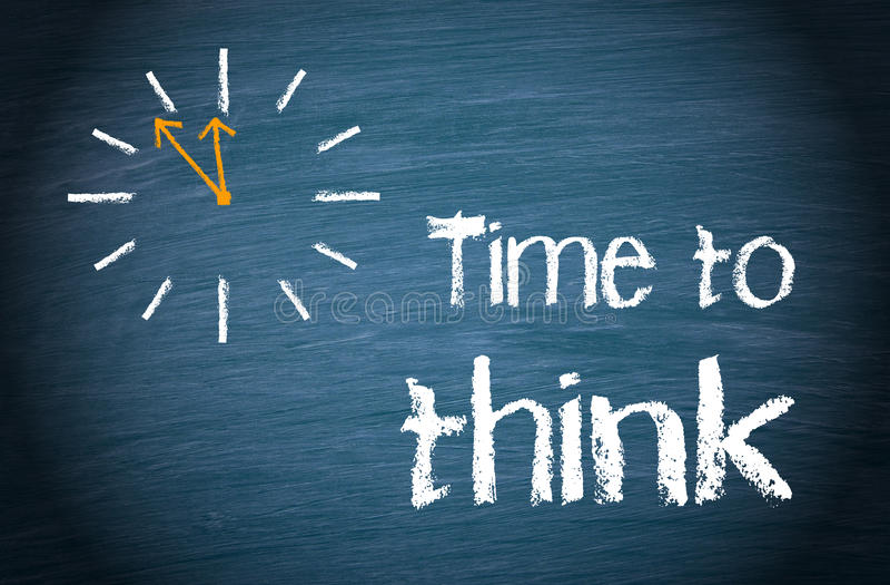 Tid som tänker - affärsidé med klockan och text stock illustrationer