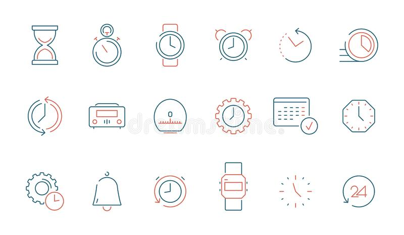 Tid symbol Vektorn för tajming för kalenderklockaklockan färgade den isolerade snabba den tunna linjen symboler vektor illustrationer