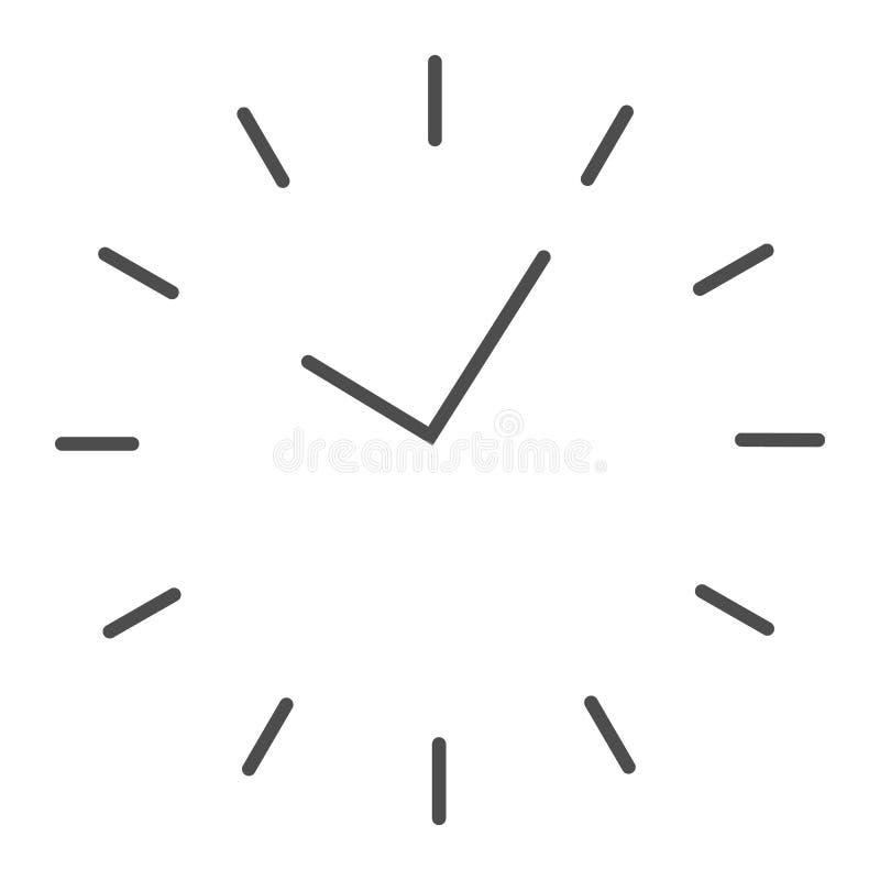 Tid tunn linje symbol Uppdelning på visartavlavektorillustrationen som isoleras på vit Design för klockaöversiktsstil som planläg vektor illustrationer
