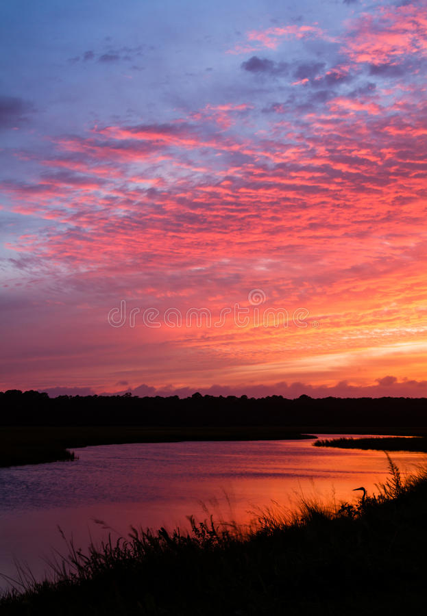 Download Tidal Creek Sunset stock photo. Image of sunset, heron - 26830856