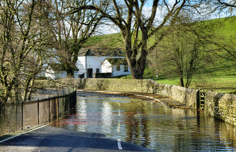 Tidal Flooding on a country road stock image