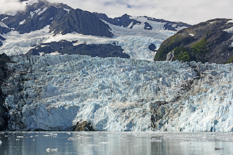 Tidal Glacier on a Sunny Day. Surprise Glacier on a Sunny Day in Prince William Sound in Alaska stock photos
