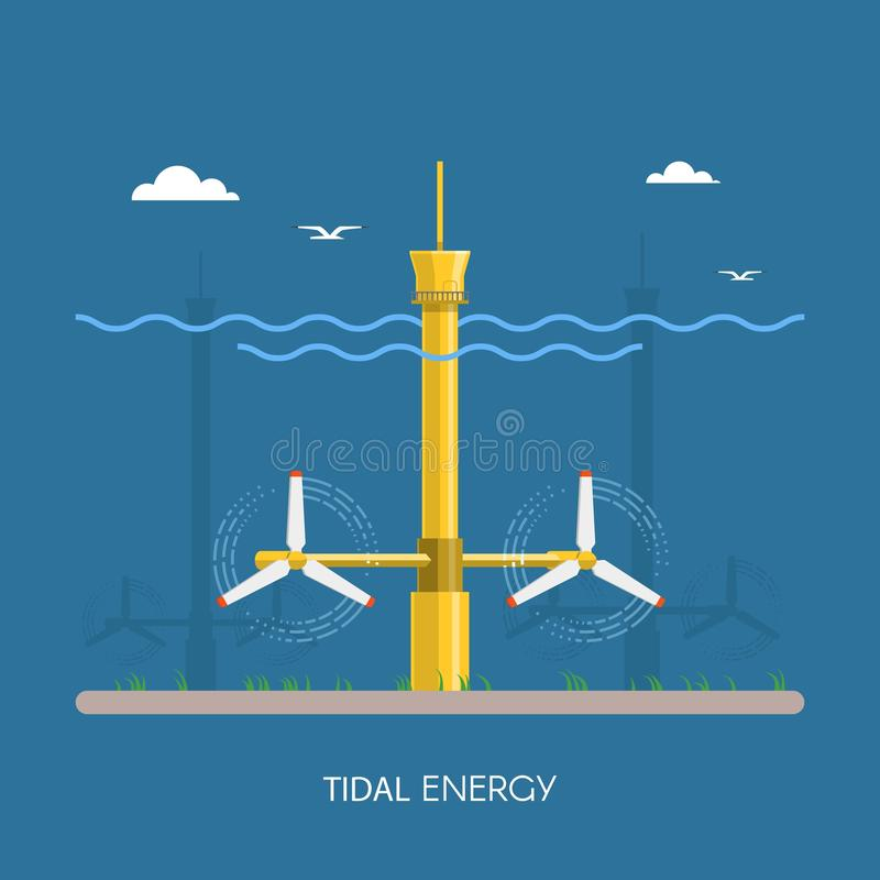 Tidal power plant and factory. vector illustration
