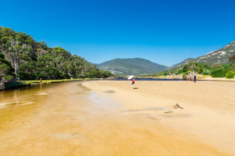 Tidal River no seção sul do parque nacional do promontório de Wilsons em Gippsland, Austrália fotos de stock