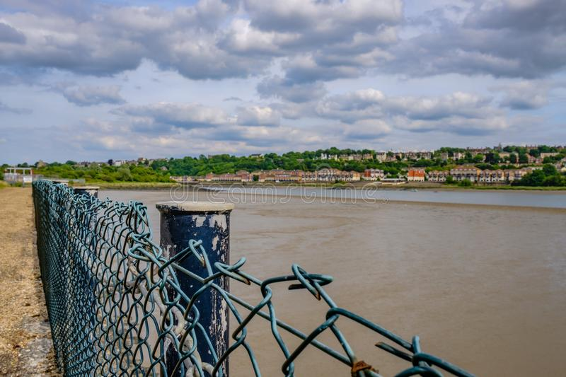Tidal river and estuary seen in Kent, showing the river at low tide. royalty free stock photo