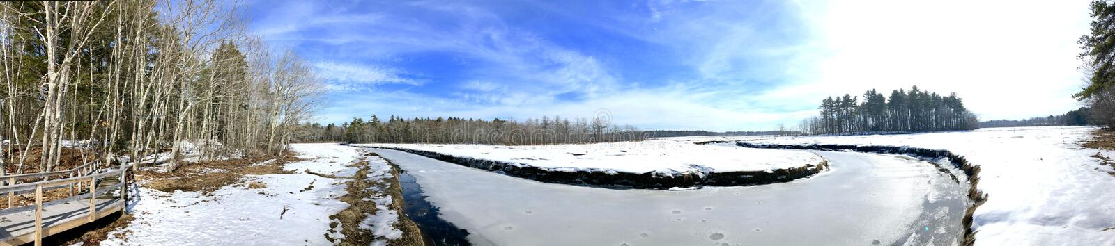 Tidal salt marsh at the Rachel Carson National Wildlife Refuge. In winter in Wells Cumberland County,York County, Maine, United States stock image