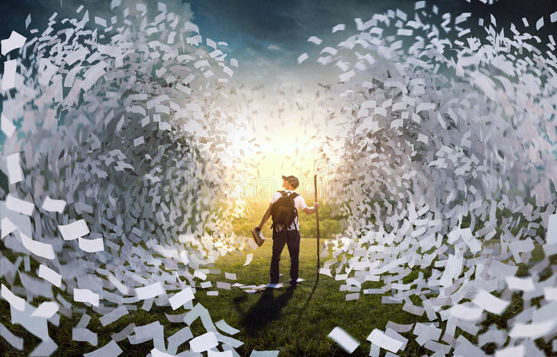 Tidal wave of book pages. A man holding a book is surrounded by giant waves of pages vector illustration