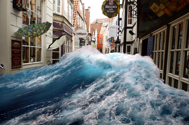 Tidal wave through the old town. Of Bremen, in Germany stock image