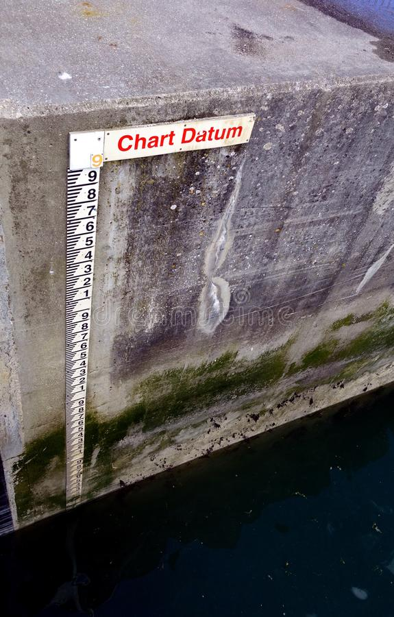 Tide gauge or tide staff on a harbour wall, showing chart datum, used by boats to determine water depth.  stock images