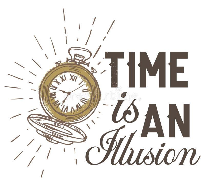 Tiden är en illusion vektor illustrationer
