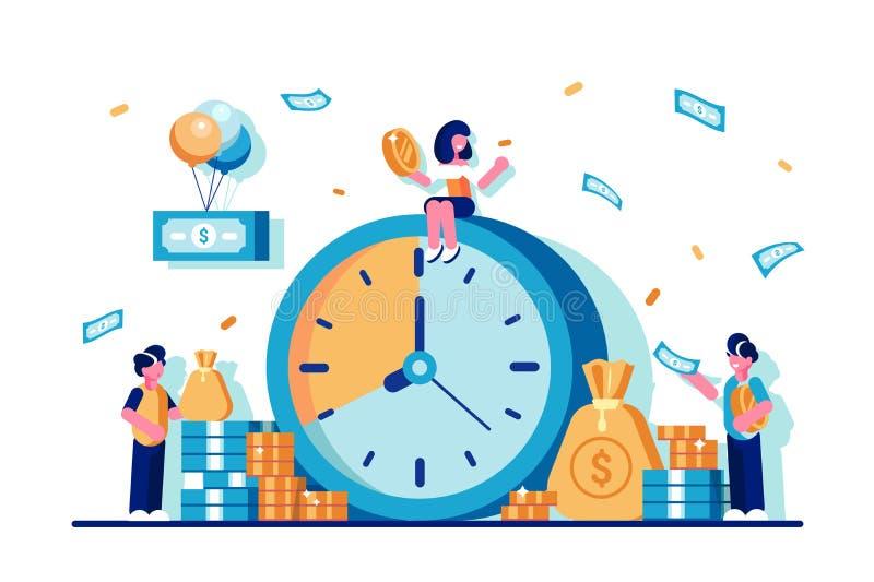 Tider är pengarbegreppet stock illustrationer