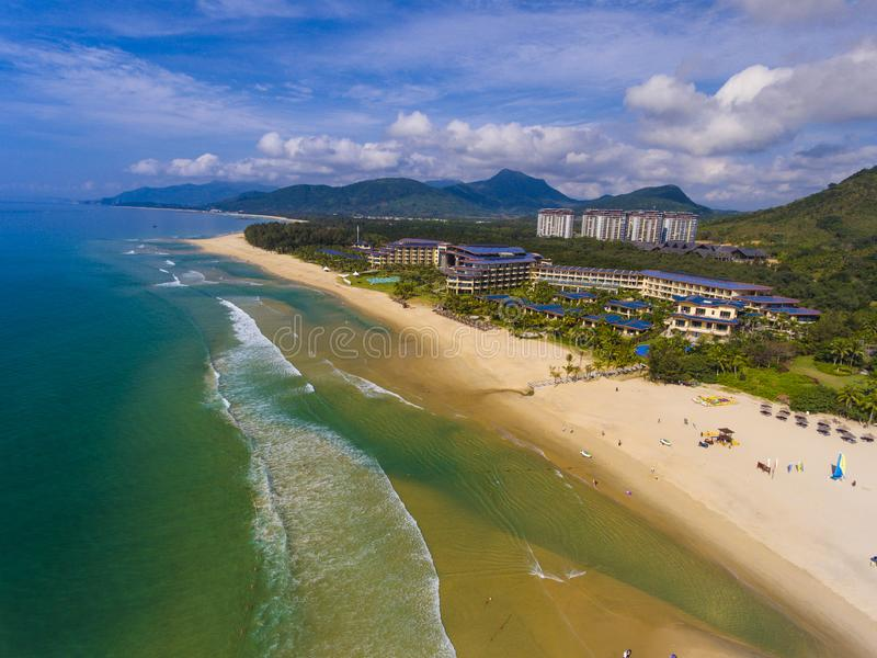 The Tidewater & Bay Beach. The Tidewater and Bay Beach of Simei bay beach in Hainan, China, took the picture from air stock images