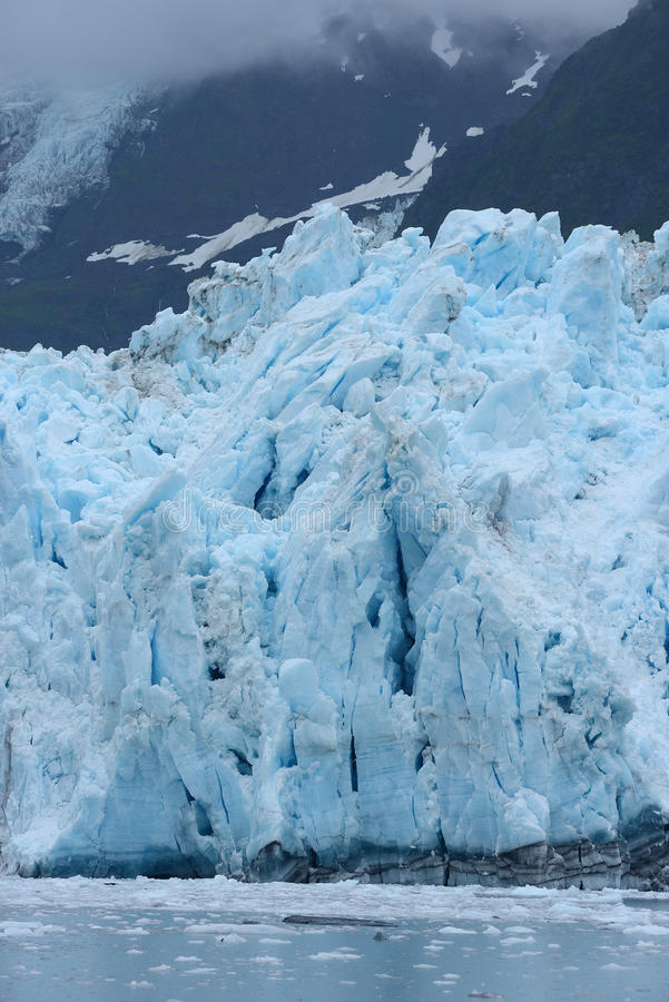 Tidewater glacier. Blue color of tidewater glacier in prince william sound in alaska royalty free stock photos
