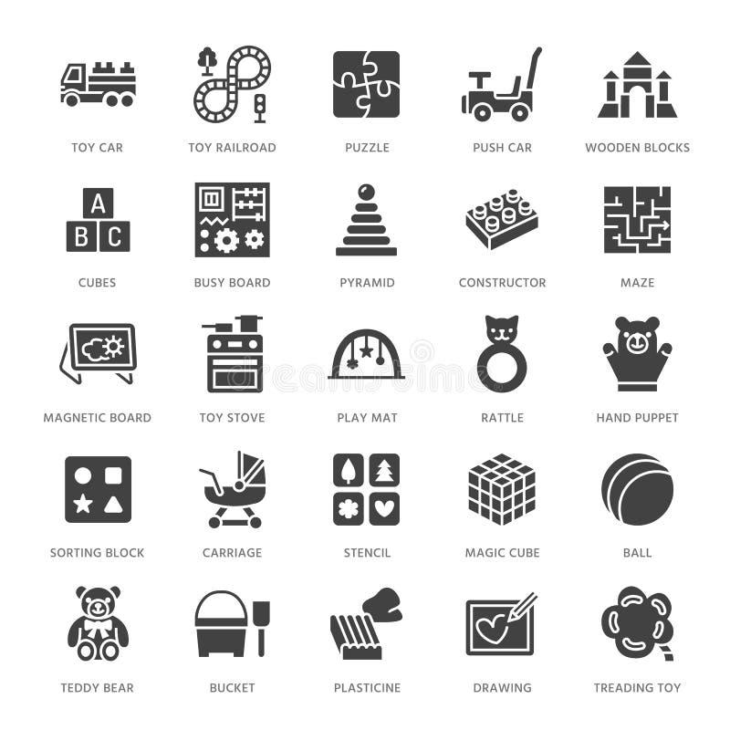Tidig utveckling behandla som ett barn leksaker fodrar framlänges symboler Spela mattt och att sortera kvarteret, det upptagna br stock illustrationer