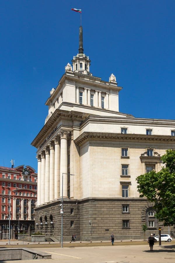 Tidigare kommunistpartihus för byggnader i Sofia, Bulgarien arkivbild